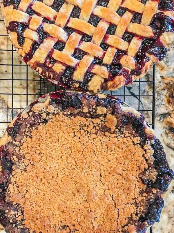 huckleberry pie with crumb topping and lattice topping
