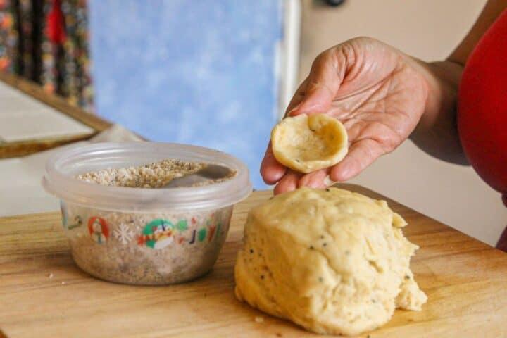 kileche dough ready to stuff