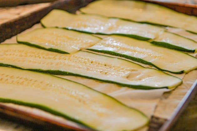 zucchini strips on paper towels