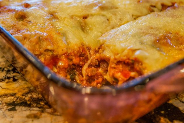 Low Carb Zucchini Lasagna with a slice missing
