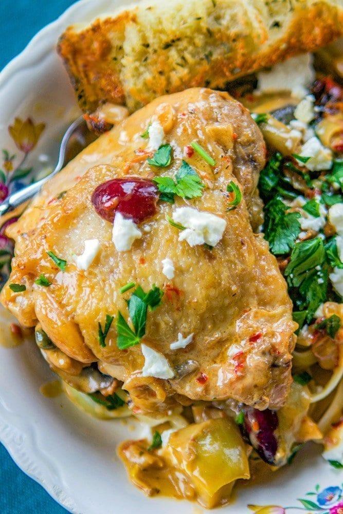 chicken over pasta