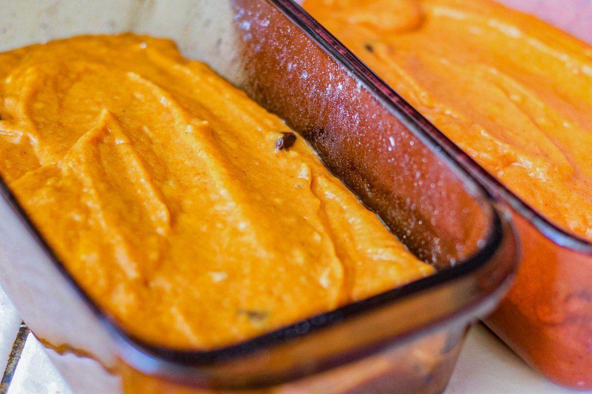 pumpkin batter in loaf pans