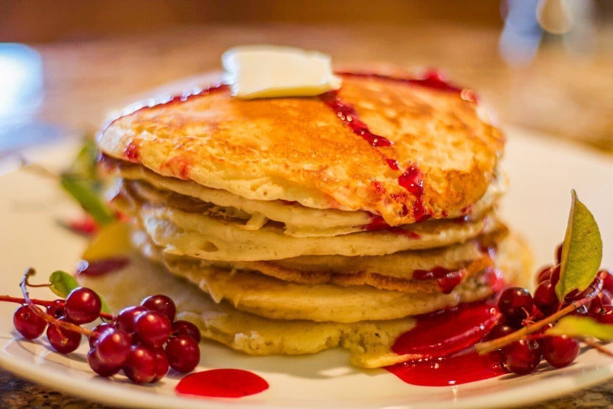 choke cherry syrup on pancakes