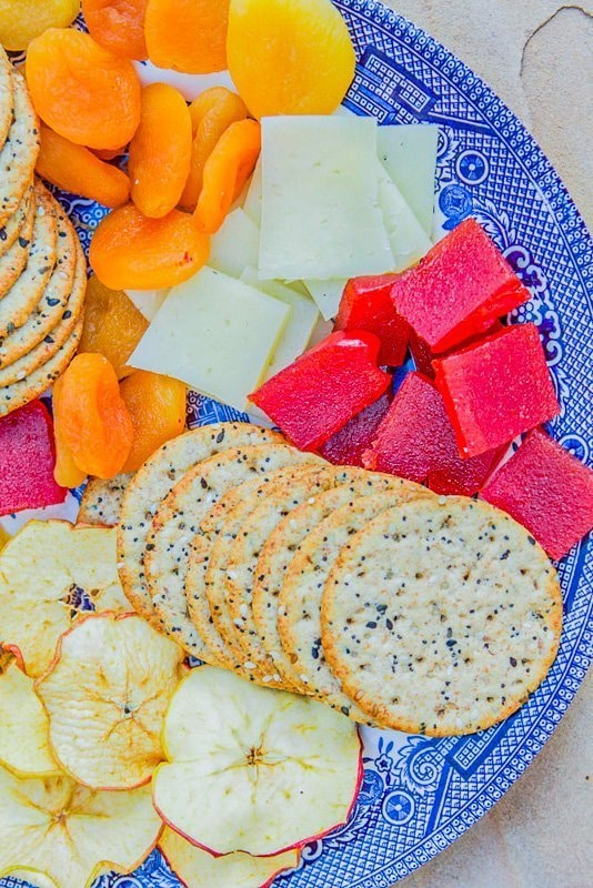 fruit plate with cheese and crackers quince candy