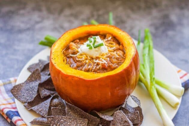 Turkey Pumpkin Chili (vegan option too!)