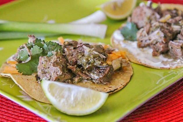 chili verde tacos