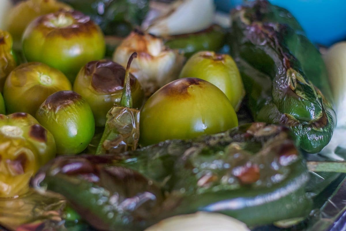 roasted tomatillos for chili verde