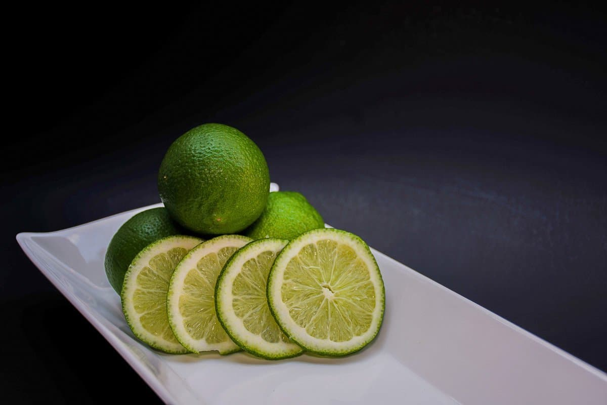 limes on a white plate