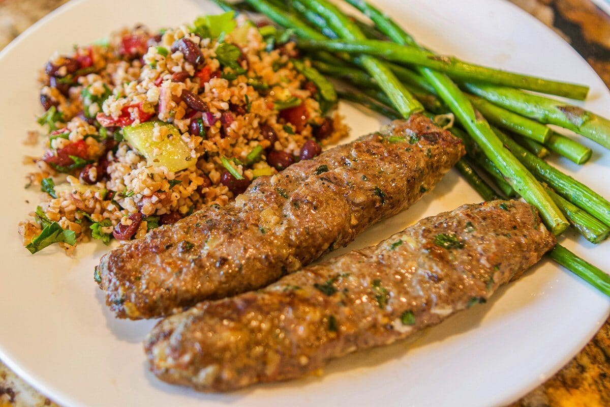 beef kofta recipe with salad and asparagus