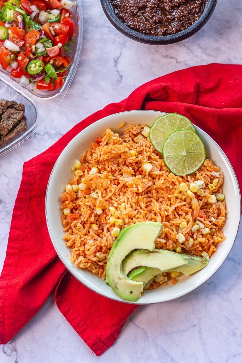 Mexican rice bowl on a red napkin
