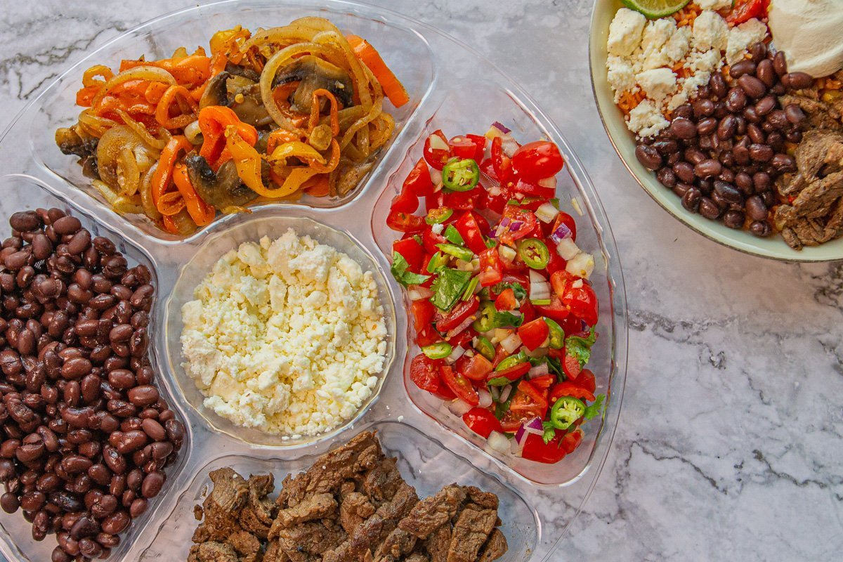 Mexican rice bowl fixings