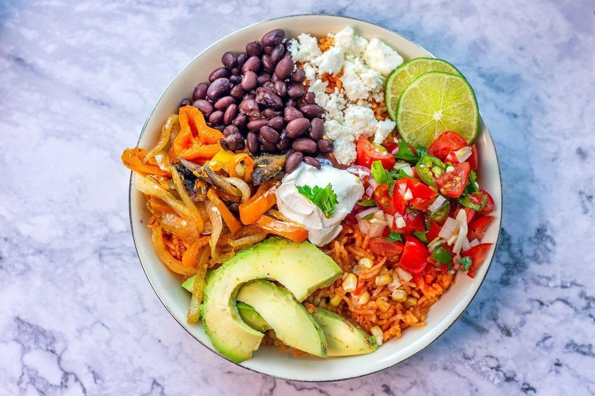 Mexican rice bowl vegetarian