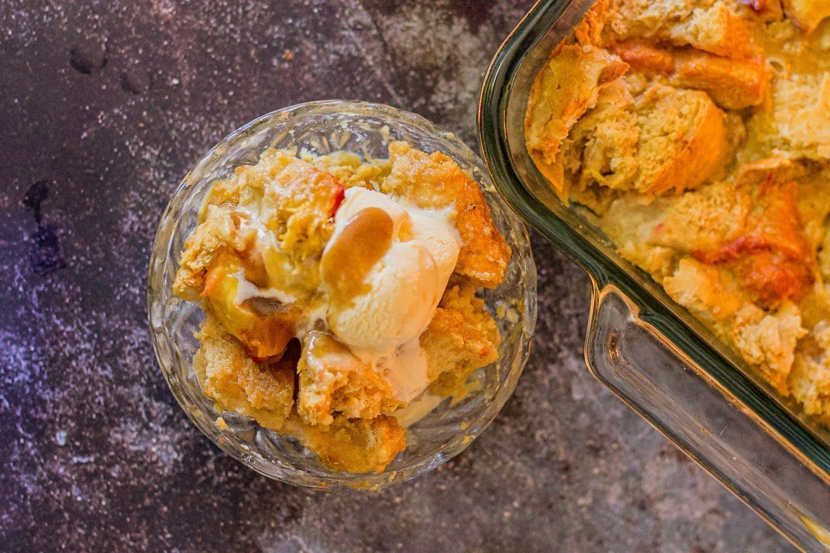peach bread pudding in a bowl
