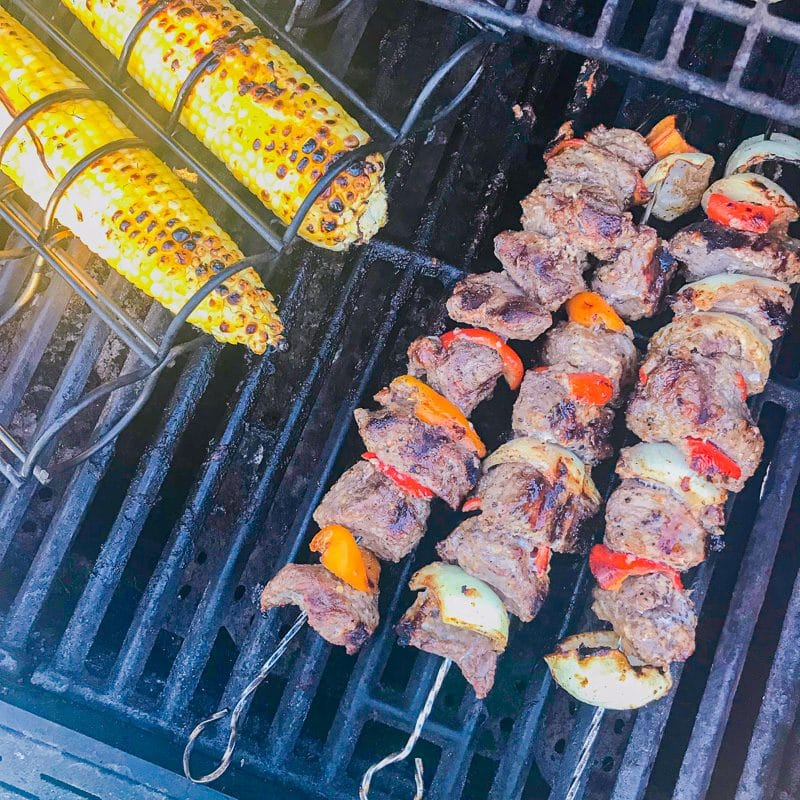 kabobs and corn on the grill
