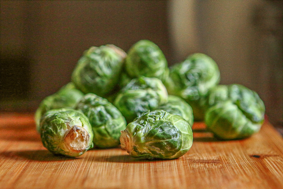 brussel sprouts on the counter