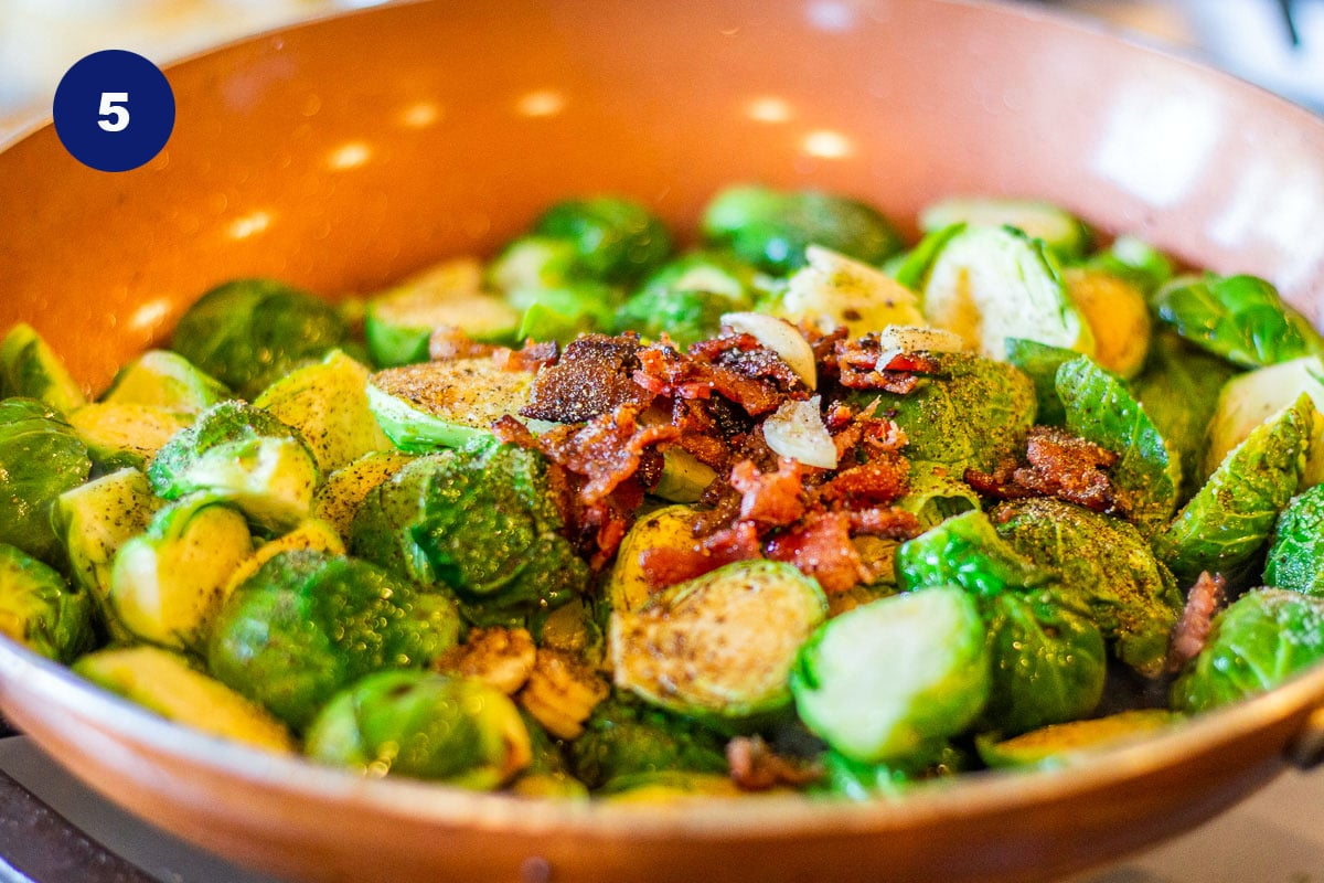 roasted Brussel sprouts in a pan