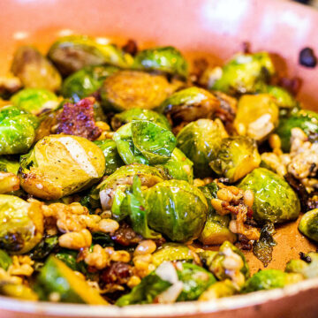 roasted brussel sprouts with bacon, cheese, and pine nuts