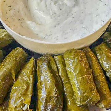 dolmades and yogurt