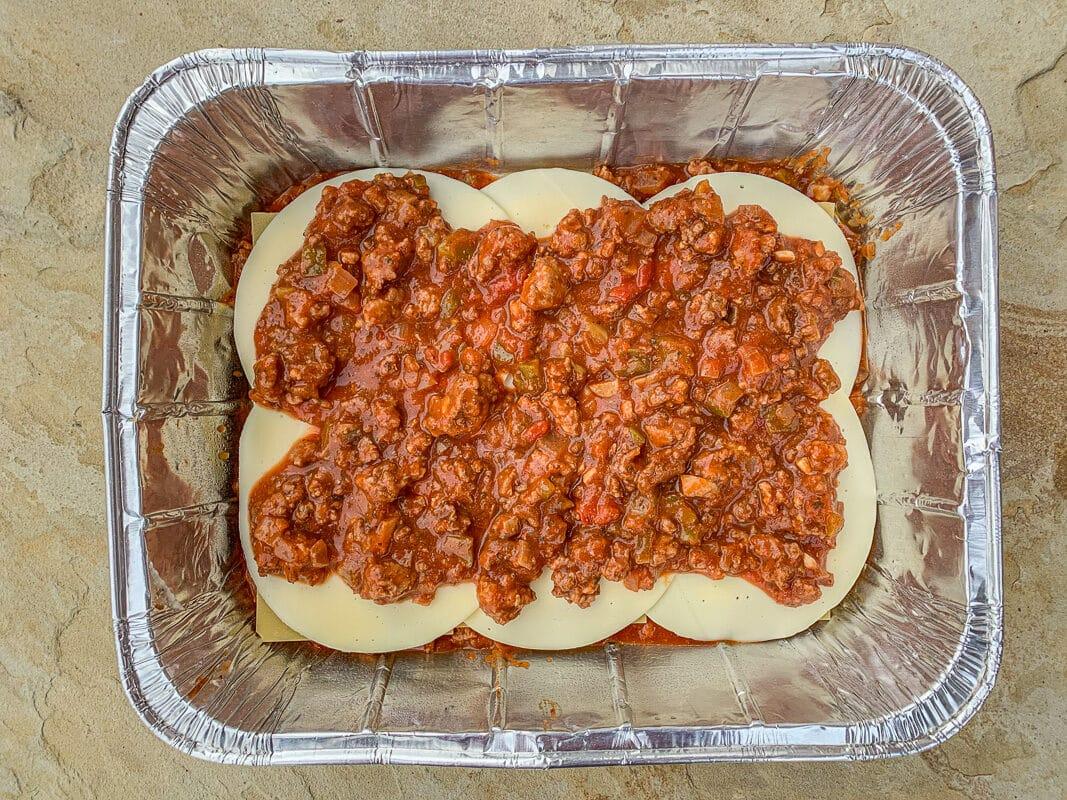 lasagna layered in a pan
