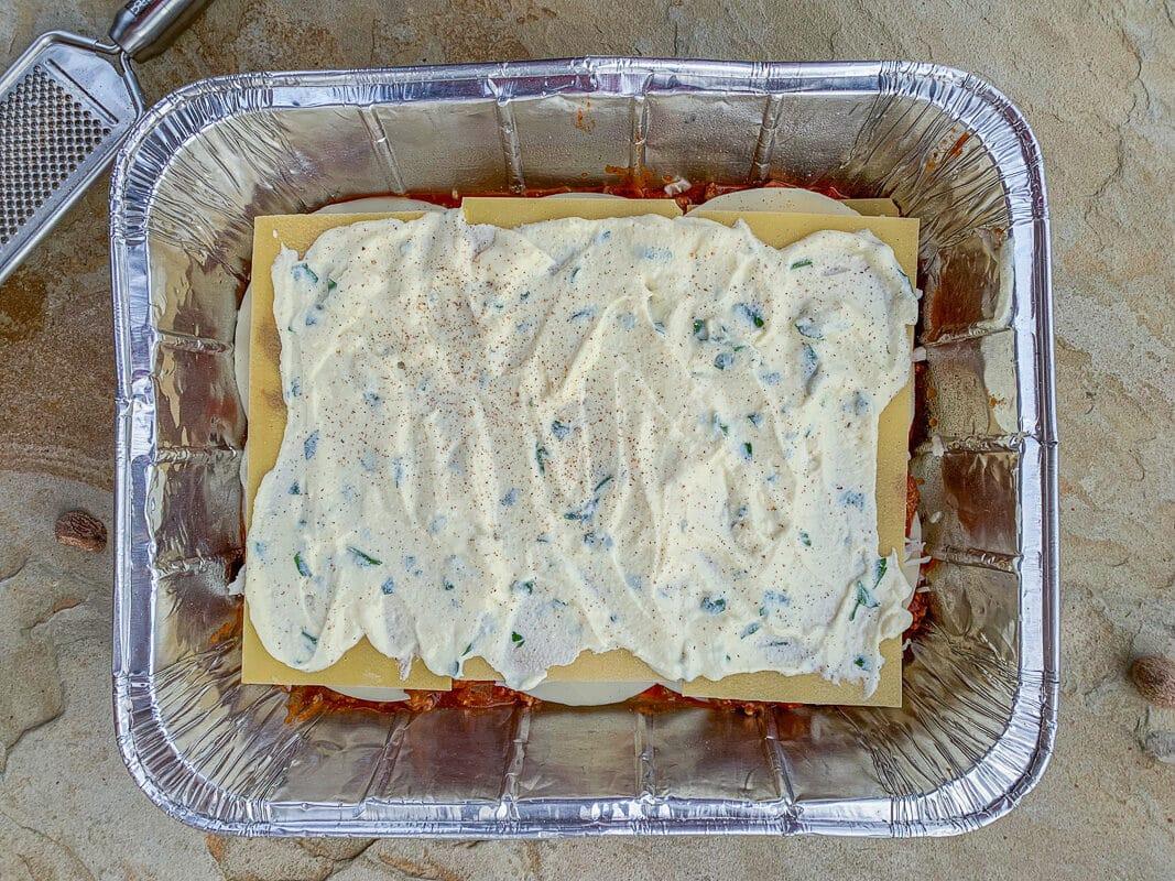 grated nutmeg on lasagna