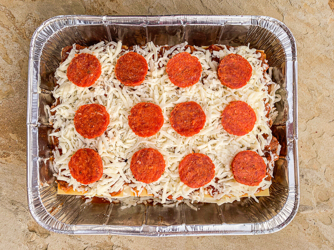 lasagna topped with pepperoni