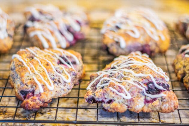 blueberry scones on a rack