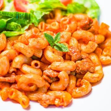 macaroni and salad on a plate