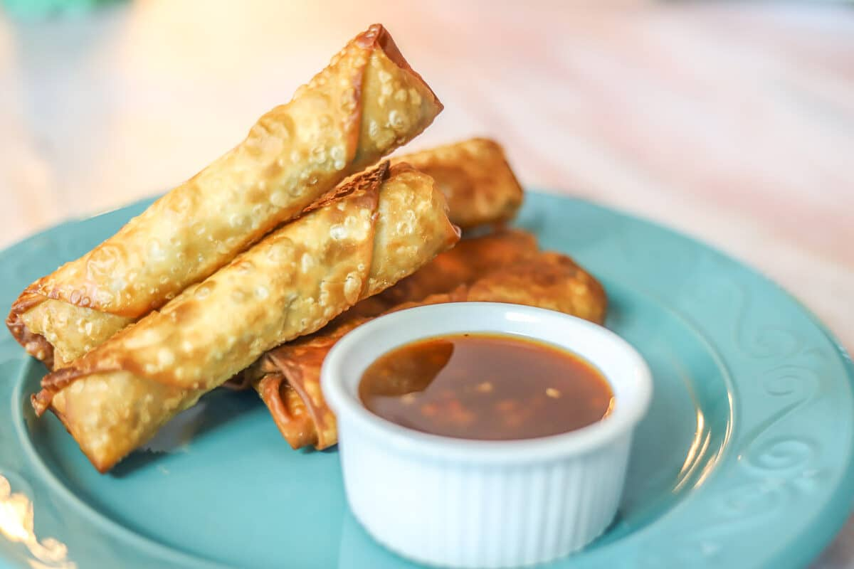 lumpia with dipping sauce on  blue plate