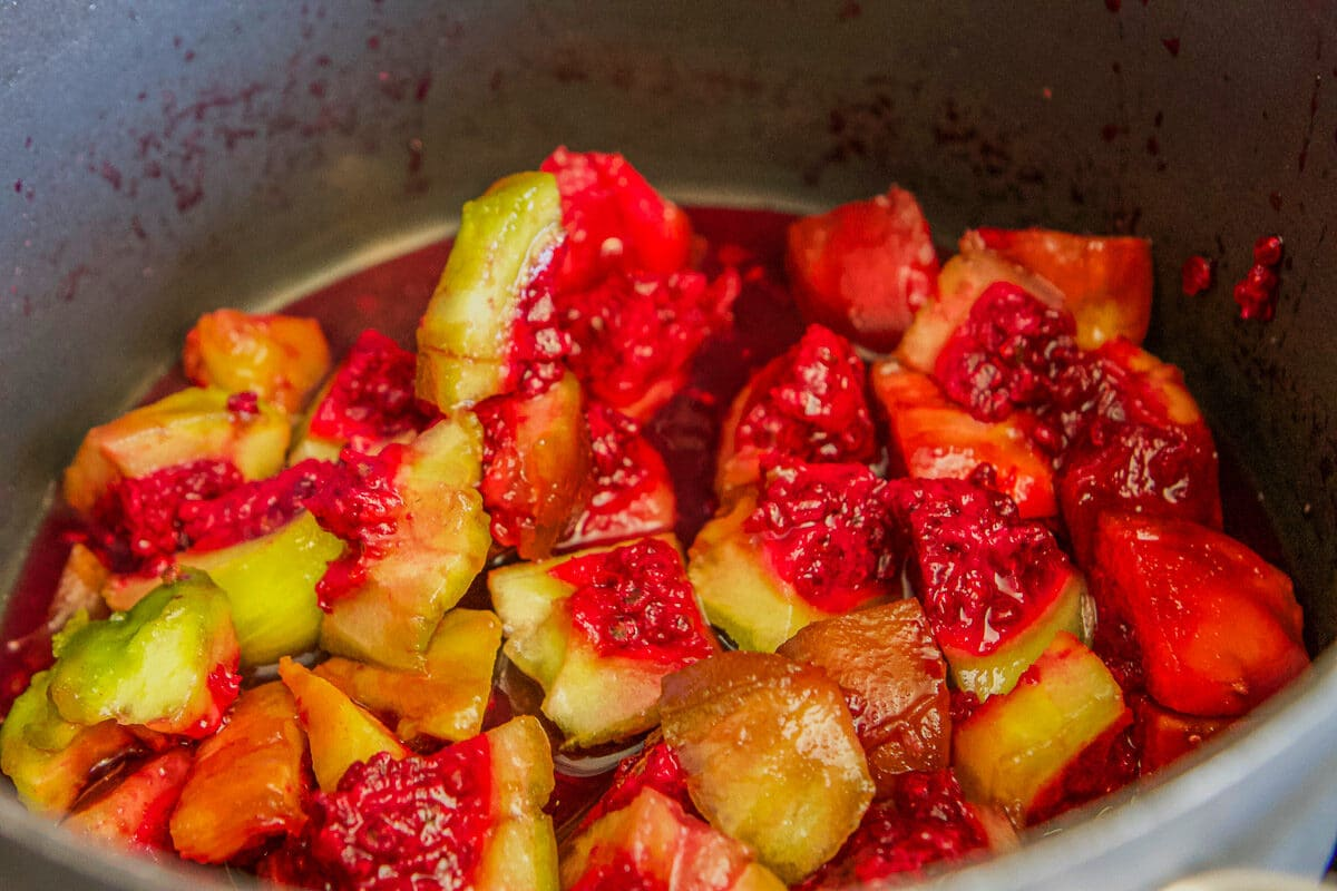 chopped prickly pears in a pot