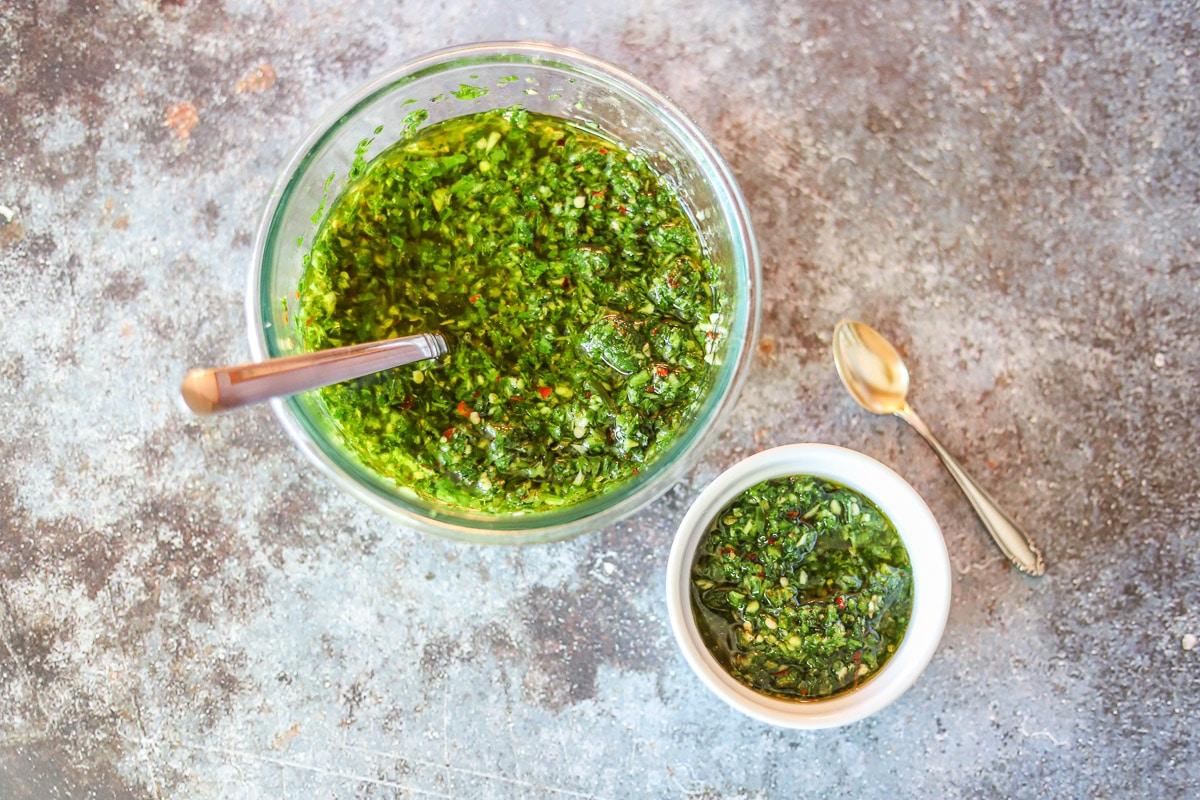 chimichurri sauce in a bowl