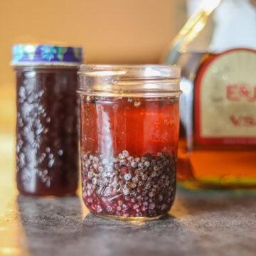 Elderberry tincture in jars