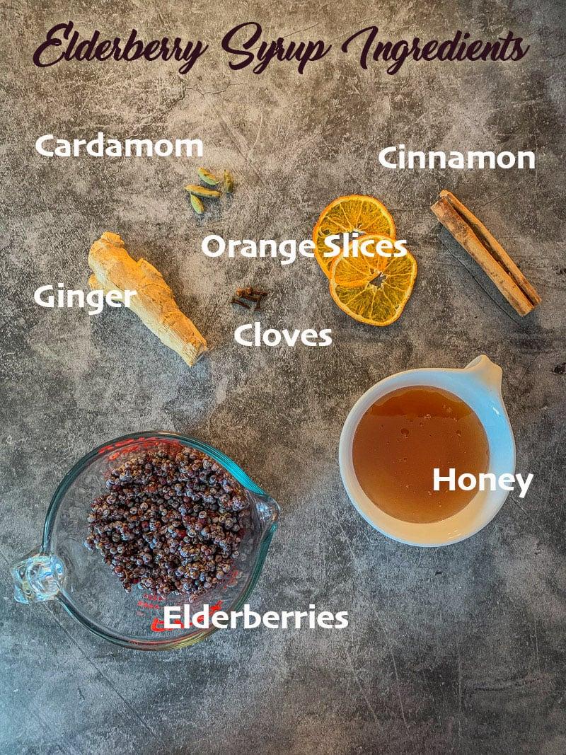 elderberry ingredients, labeled