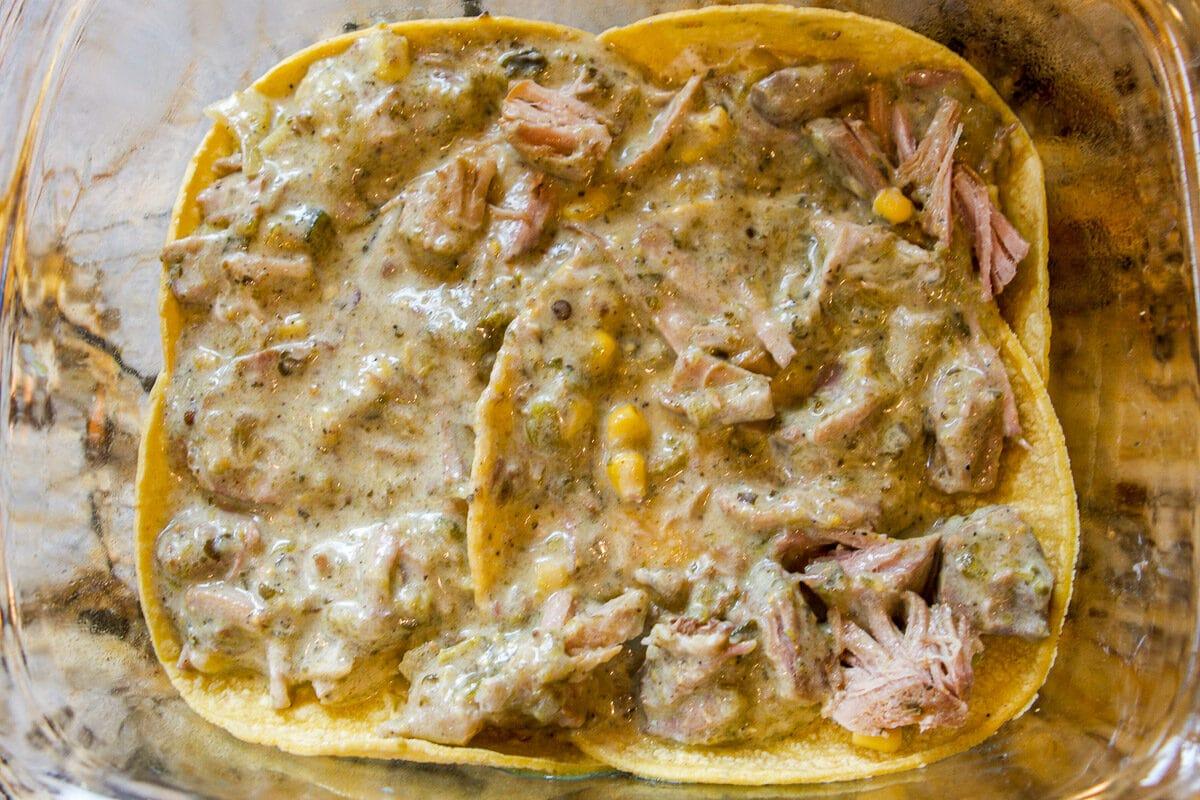 chili verde enchilada layers