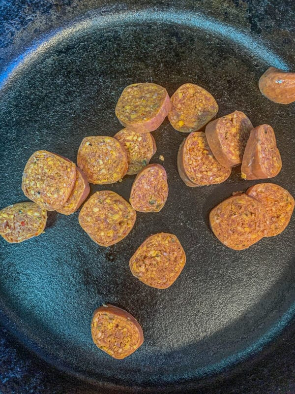 sliced sausage in a pan