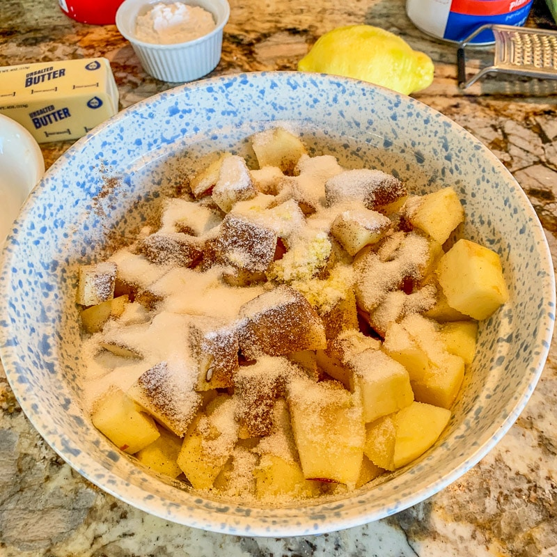 diced apples in a bowl for apple strudel recipe