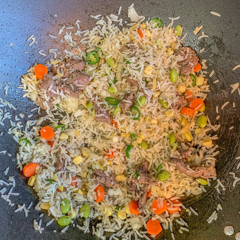 fried rice in a frying pan