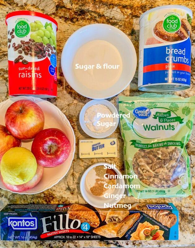 ingredients for apple strudel recipe