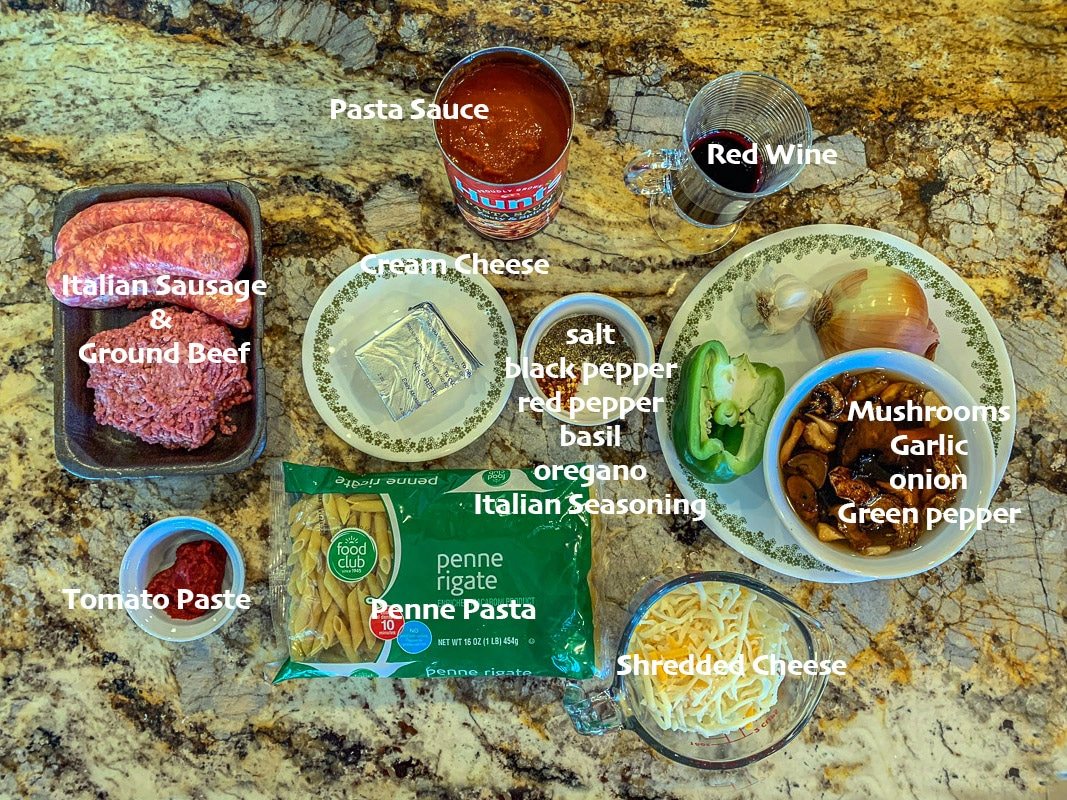 baked penne pasta ingredients, labeled