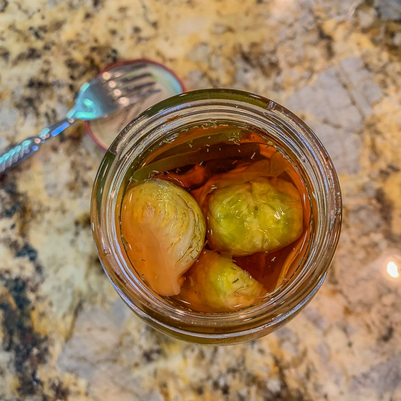 Pickled Brussel Sprouts in a jar