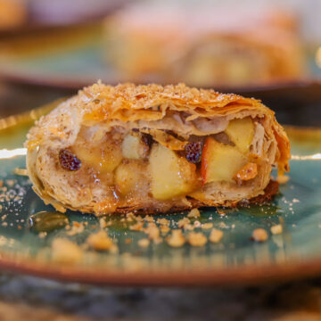 apple strudel on a plate