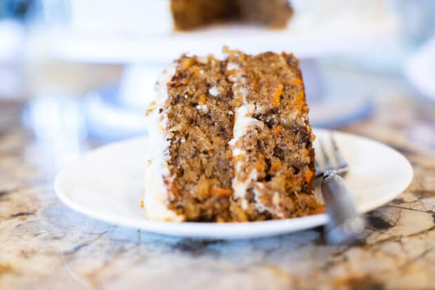 carrot cake slice on a plate