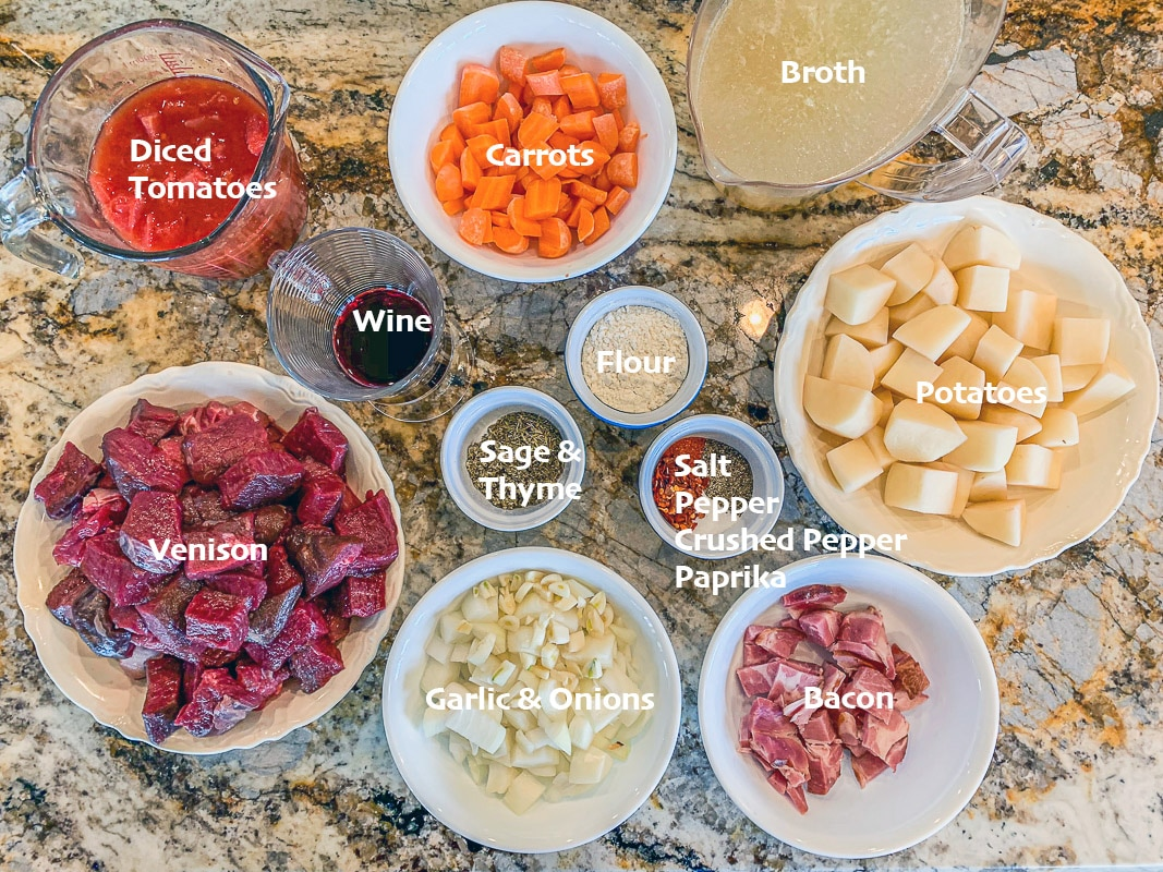 labeled venison stew ingredients