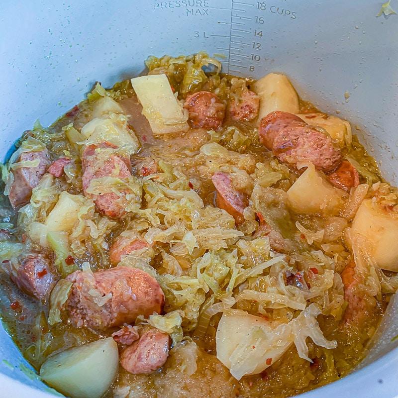 kielbasa and sauerkraut in an instant pot