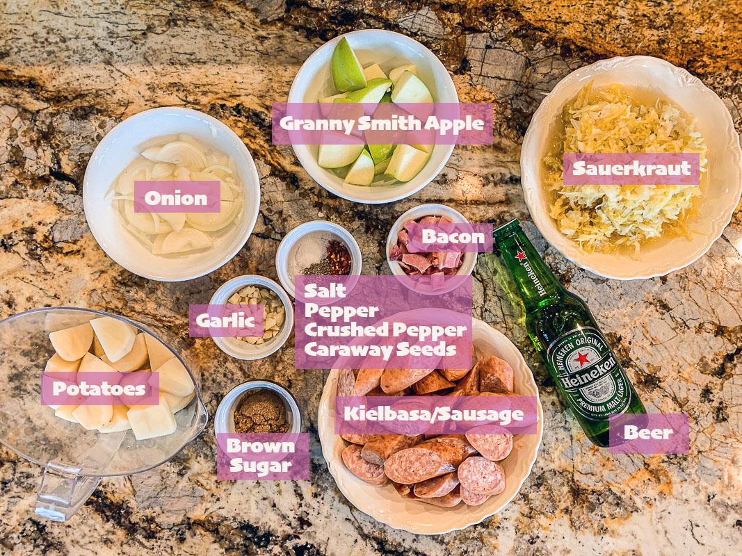 kielbasa and sauerkraut ingredients