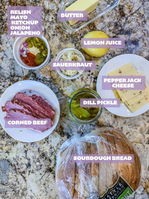 Reuben Sandwich ingredients, labelled