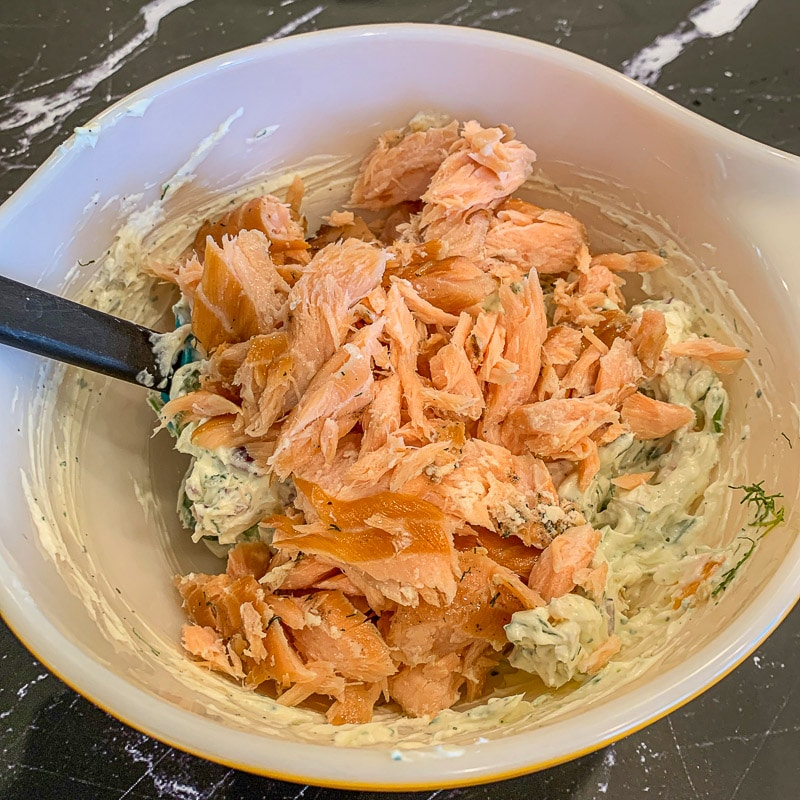 smoked salmon in a bowl with cream cheese