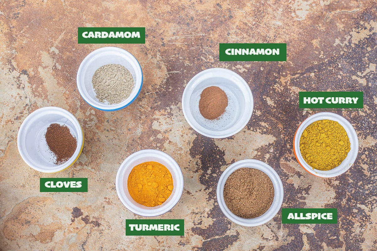 labeled biryani spice ingredients