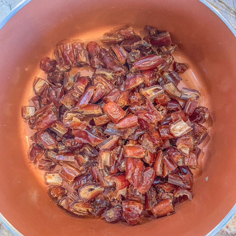 chopped dates in a pot