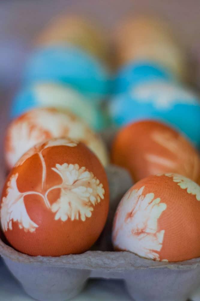 Easter eggs in an egg carton
