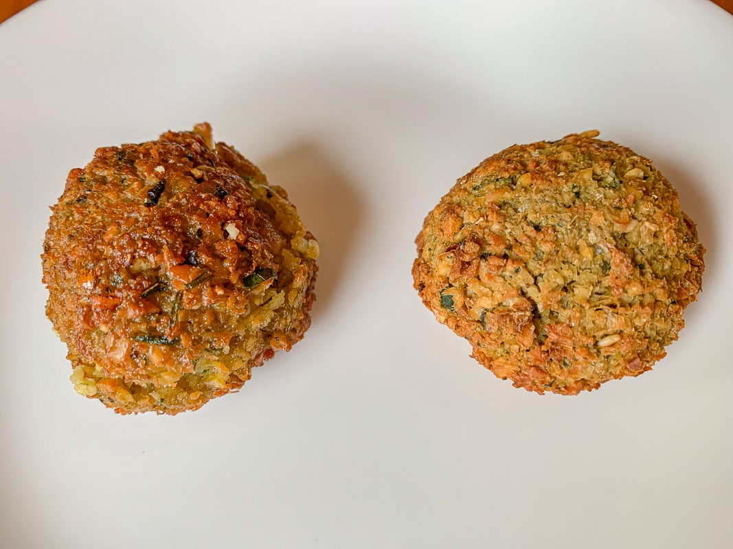 air-fried falafel on a white plate